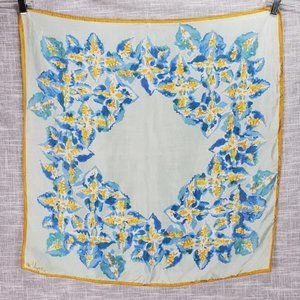 """Vintage Vera Fall Floral Scarf 26x26"""" Blue Gold"""